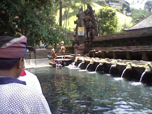 The pools at the Tirta Empul Temple in Bali