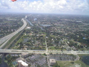 After takeoff from West Palm Beach in Florida